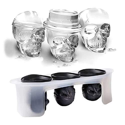 Espeluznantes vasos de calavera en 3D, dise?ados y atractivos, conjunto de tres calaveras con temática de calavera, las bandejas de cubitos de hielo grandes perfectas.