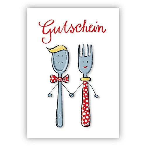 1 Grusskarte: Liebevoller Gutschein zum Essen mit Herrn und Frau Löffel und Gabel • schöne Premium Grusskarte mit Umschlag für beste Freunde und Lieblingsmenschen