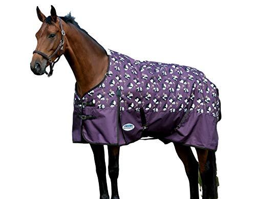 Weatherbeeta Comfitec Essential - Lightweight Horse Blanket Sheet 600Denier, Waterproof & Breathable Standard Neck Turnout Sheet - Great for Spring & Summer - Purple Panda Print 69'