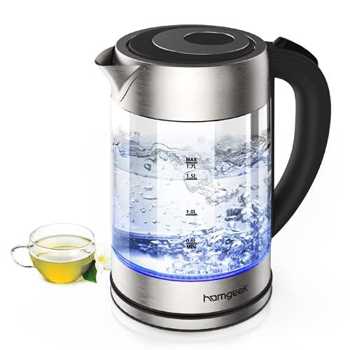 homgeek Hervidor de Agua Electrico, Calentador de Agua 1.7 litros, 2200W Ebullición...