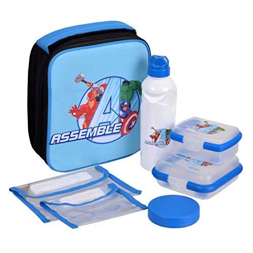 Marvels Avengers Classic Design Brand New Kids Lunch Bag Kit 7 Piece