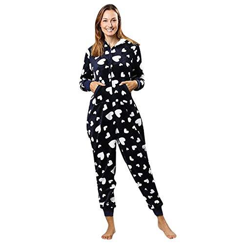 Damen Jumpsuit Unisex Erwachsene Ganzkörperanzug mit Kapuze Overall Reißverschluss Schlafanzug Jogging Training Strampelanzug Cosplay Einteiler Nachtwäsche Warm Bodysuits (XL/(EU=40), Marine)