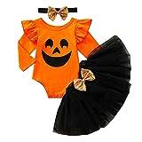 Geagodelia Conjunto de ropa de Halloween para bebé niña recién nacida + falda tutú de tul 0-24 m My First Halloween, Naranja & Negro 07, 6 mes