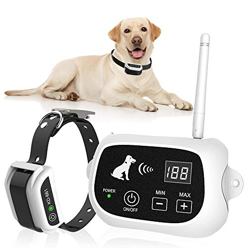 Wireless Dog Fence, Pet Containment System, Pets Dog Containment System Boundary Container with IP65 Waterproof Dog Training Collar Receiver, Adjustable Range, Harmless for All Dogs