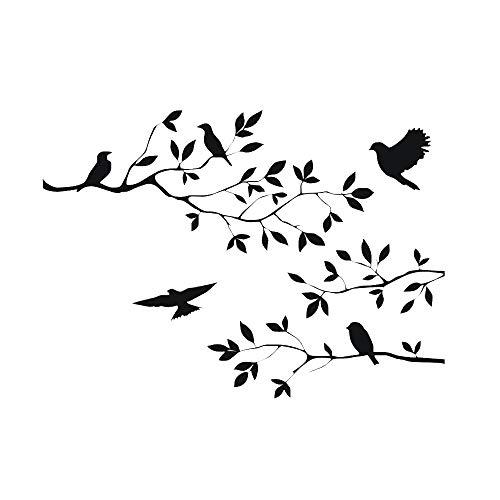 CUNYA 60 x 35 cm, pegatinas de pared con ramas de árbol negro, hojas de guardería, vinilo extraíble, decoración del hogar para sala de estar, dormitorio y casa de campo (pájaros)