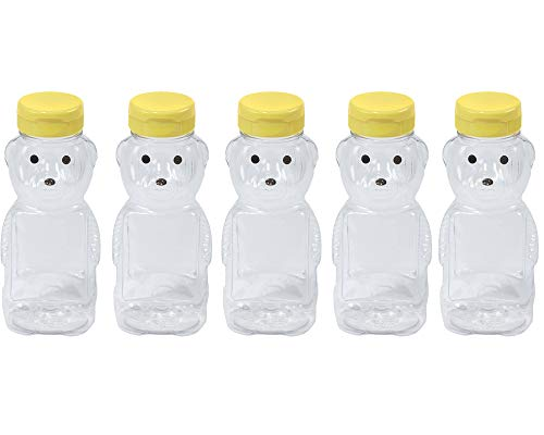 TACKMETER キッズ クマ ジュースボトル 8オンス 空 スクイーズ可能 クリアペットボトル 旅行 牛乳 紅茶 飲料用 (イエロー)