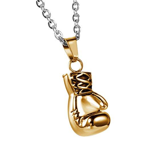 JewelryWe Schmuck Edelstahl Herrschsüchtige Boxhandschuhe Männer Anhänger mit Halskette, Herren Kette, Gold, mit Geschenk Tüte
