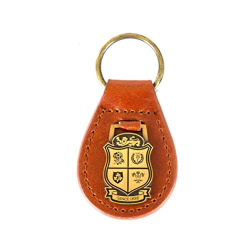 Brand Co. Official British & Irish Lions Rugby Leather Key Fob [Brown]