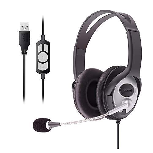 Auriculares de PC, auriculares USB para ordenador, auriculares para juegos con micrófono con cancelación de ruido y control de volumen, con cable ligero, para negocios y portátil