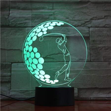 3D Night Light Space,3D Illusion Led Schreibtischlampe Sport Play Golf Touch Sensor Farbwechsel Nachtlicht Kinder Kind Arbeitszimmer Dekor Nachtlicht