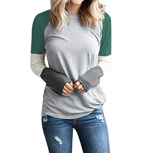 Reooly Camisa Delgada de Manga Larga con Botones Sueltos para Mujer Camiseta Larga con Cuello Redondo y Color Liso