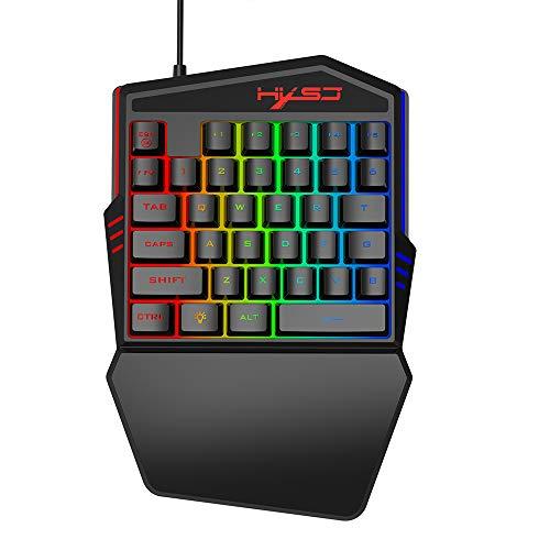 docooler HXSJ Tastatur mit einer Hand mit 35 Tasten mit Tastatur für Spiele mit Hintergrundbeleuchtung, ergonomisches Design und Anti-Ghost Taste