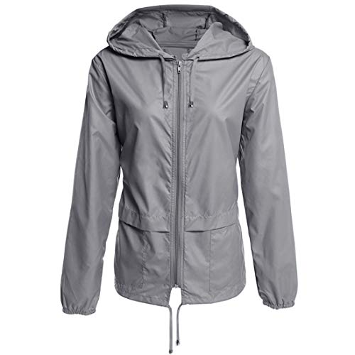 Yczx wasserdichte Regenjacke Damen Regenjacke mit Reißverschluss im Freien mit Kapuze Leichter Regenmantel Ideale Kleidung für Wanderungen im Freien Klettern Camping Sport Hohe Qualität XL