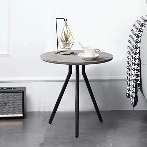 GOLDFAN Retro Wood Side End Table for Sofa Small Round Modern Coffee Table 50cm with Black Metal Legs for Living Room, Grey