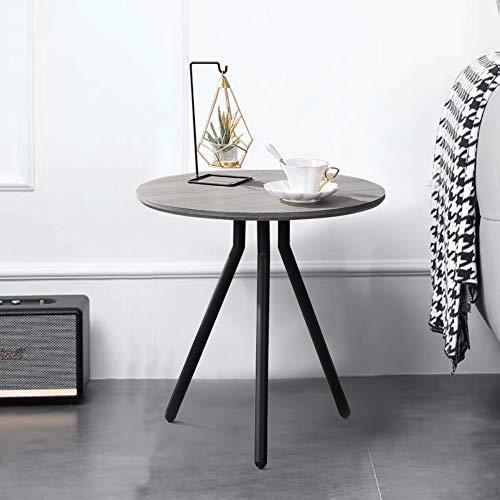 GOLDFAN retrò Legno Tavoline da caffè Piccolo Tavolino da Divano Rotondo Tavoline Salotto Comodino, Design Industriale (Grigio)