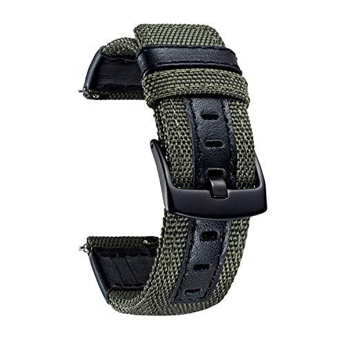 Cinturini compatibili con Huawei GT GT2 42mm 46mm Huawei Watch 2 Classic Sport Smartwatch Cinturino di ricambio per cinturini ibridi in tela e vera pelle 20mm 22mm Bracciale con fibbia nera