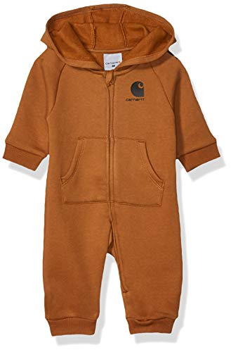 Carhartt Baby Boys Hooded Coverall, Fleece Brown, 6 Months