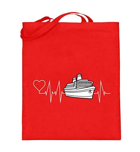 Mein Herz schlägt für die Kreuzfahrt, Kreuzfahrer Schiff mit Herzschlag - Jutebeutel (mit langen Henkeln) -38cm-42cm-Rubinrot