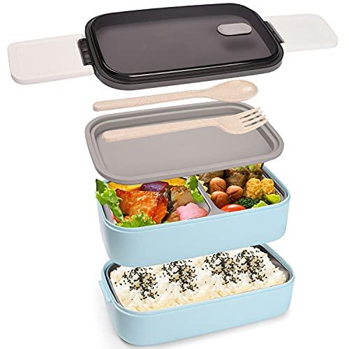 Maxee Bento-Box ,Doppelschichtige 304 Edelstahl Anti-Verbrühungs-Lunchbox (ohne BPA), Geeignet für Mikrowelle (Gabel, Löffel, Trennwand)
