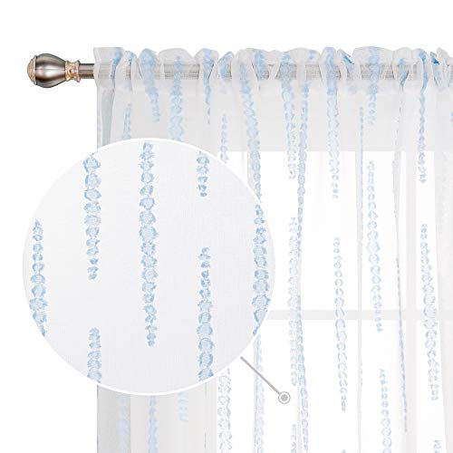 Deconovo Jacquard Rod Pocket Sheer Curtains Sky Blue Striped Design White Cafe Curtains for Bedroom 52W x 24L Inch 2 Curtain Panels