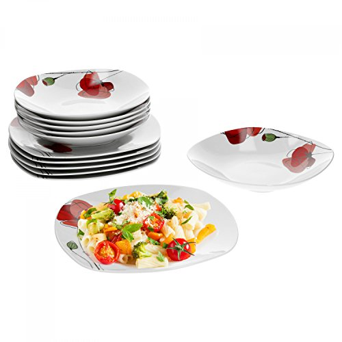 Van Well 12tlg. Tafelservice Monika für 6 Personen | Speiseteller + Tiefe Suppenteller | Mohn-Blume | edles Porzellan | Tafel-Geschirrset | Gastro