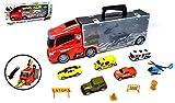 VENTURA TRADING Transportador de Autos y 6 Autos Servicios de Emergencia Transportista Camión de Juguete Transportador de Autos con Mini Metal Cars Vehículos Play Set para niños