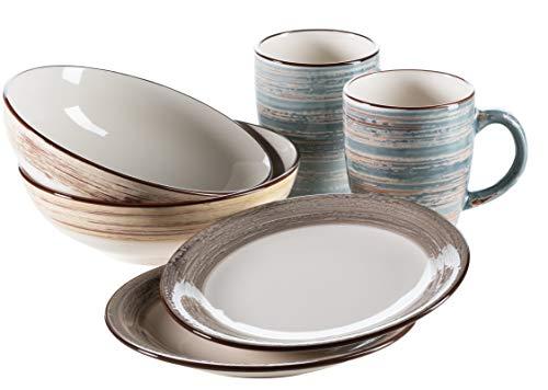 Mäser 931379 - Set da colazione per 2 persone, 6 pezzi, in stile vintage, con tazza da caffè, piatto da colazione e ciotola per cereali in stile shabby chic, in ceramica, blu/beige/marrone