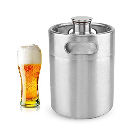 Mini Edelstahl Bierfass Growler Keg tragbares Bier Basteln Fass mit Spiraldeckel für Heimbrauen Hotelbar Kneipe 2L