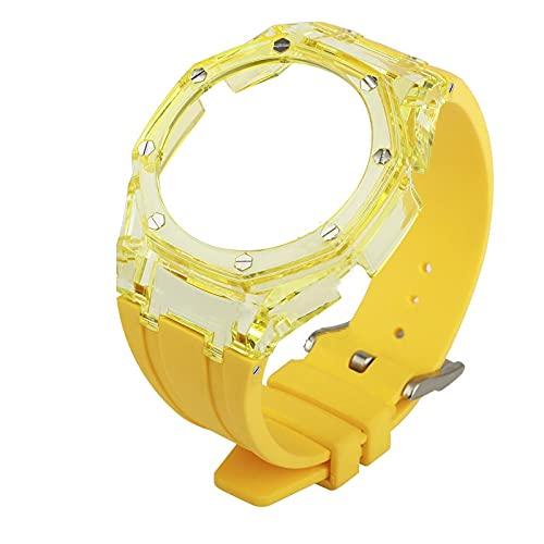 WSGGFA 2021 Nuevo GA2100 3RD Accesorios modificados Correa GA-2100 GEN3 Caja Transparente + Correa de Goma para G-Shock GA2100 (Band Color : Yellow, Band Width : For GA2100)
