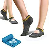 Yoga Socken für Damen, rutschfeste Sportsocken Pilates Socken (2 Paar) mit 1 kühlendes Handtuch schweißabsorbierend für Barre, Ballett, Tanz und Fitness Sport, 35-41 (Grau)