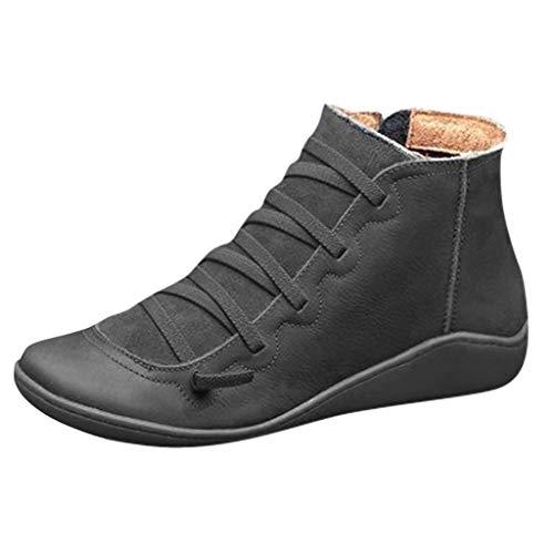 Canifon Fermeture Femmes à Glissière Latérale Casual Flat Cuir Rétro Bottes à lacets Chaussure à Bout Rond Bottes Type B