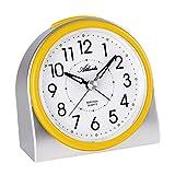 Atlanta 2170/2 - Despertador moderno sin tic-tac, luz, alarma intermitente, cuarzo, color plateado y amarillo