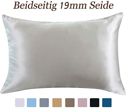 ZIMASILK Kissenbezug aus 100% Seide für Haare und Haut. Doppelseitige 19 Momme Reine Maulbeerseide Kissenhülle mit Reißverschluss, 1 Stück.(40x60 cm, Silber-Grau)