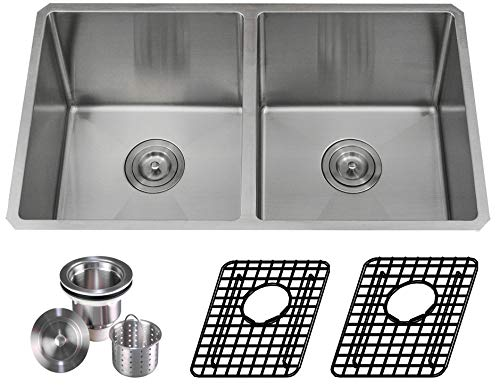 Unbeatable Price Package Deal Aquarius 16 gauge Double Bowl Hand Made Square Stainless Steel Undermount Kitchen Sink Package (Sink+2 Grids+Strainer)