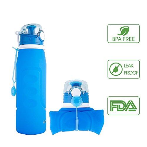 Yvon nelee silicona plegable Agua bidones Silicone Water Bottles para deporte Outdoor Camping Hiking Senderismo sin BPA con mosquet/ón ca/ño seguro Juego de 2