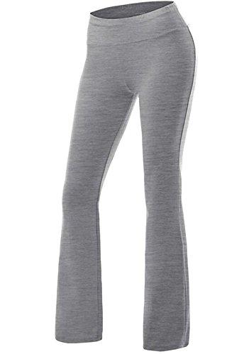 FITTOO Yoga Pantalon Femme Legging de Sport Extensible Pantalon à Pattes d'éléphant pour Fitness Jogging Danse, Gris, L