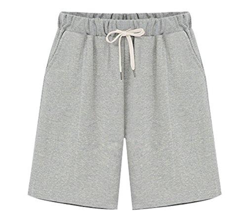 Vcansion Women's Casual Summer Loose Plus Size Long Shorts Elastic Waist Drawstring Grey Tag 6XL/US 16W (20)