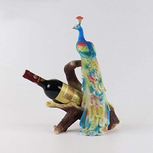Kreatives Weinregal mit Pfauenmotiv, kreatives Weinregal für die Dekoration des Hauptraums, blau, 28.5*22*43