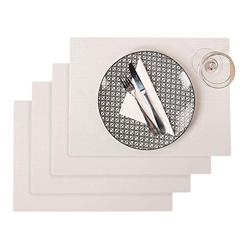 Westmark Tischsets/Platzsets, 4 Stück, 45 x 32,5 cm, Polypropylen, Lebensmittelecht, Abwischbar, Weiß, Saleen Edition: Coolorista