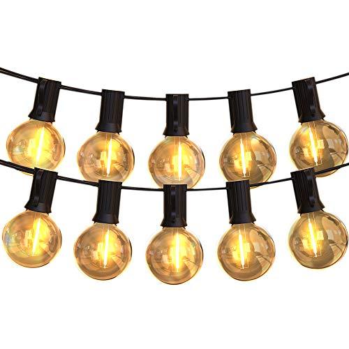 LEDストリングライト 防雨型 11.5m 24個電球 G40 E12口金 電球色 PC素材 破損しにくい 屋内/屋外照明 誕生日 パーティー電飾 ガーデンライト 庭 祭り 商店街