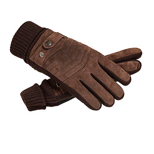 DongDongDong Leather Gloves Winter Cycling Cold, Warm, Thick Plus Velvet Touch Screen Outdoor Cycling Motorcycle Cotton Gloves  Roguchi Arrow - Brown