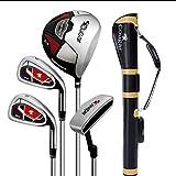 AYES Juego completo de palos de golf para hombre con conductor de titanio, Fairway Woods, híbrido, hierros, putter, bolsa de soporte (4 ejes de acero para pistola)