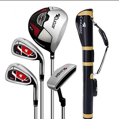 AYES Juego completo de palos de golf para hombre con conductor de titanio, maderas de Fairway, híbrido, hierros, putter, bolsa de soporte (funda para pistola de 4 ejes de acero)