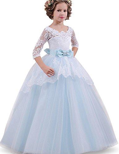 NNJXD, Niñas,reunión muy concurrida, bordado, baile de graduación, vestido, princesa, vestido de novia tamaño(130) 8-9 años Azul