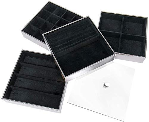 JackCubeDesign Set of 4 Bandeja de joyería de cuero apilable con espejo Collar de pendiente de pulsera Anillo de pulsera Organizador Display Caja de almacenamiento (Plata, 18 x 18 x 17 cm) -: MK409B
