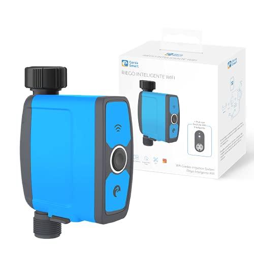 Garza ® Smarthome - Programador de riego automático Wifi con enchufe inteligente. Controlador programable para jardín y exteriores
