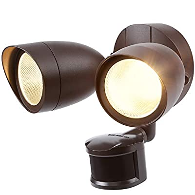 LEONLITE Dual-Head Motion-Activated LED Outdoor Security Light, Bronze Finish 120W Eqv. 1400lm, UL & Energy Star Certified Exterior Flood Light, 3000K Warm White