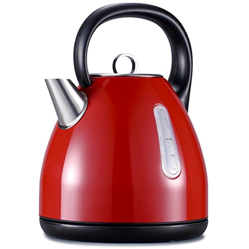 Avan-Pacific Stainless Steel 360°Cordless Electric Kettle 1.7L 1500W Auto Shut-Off, Boil Dry Protection ETL/FDA Approval (RED)