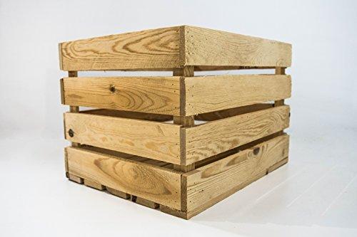 Caja de Madera de Almacenamiento Sam, Caja Vintage de Madera Decorativa, Caja Natural, Beige, Naturaleza. 50x40x30cm. Incluye Imán Personalizable de Regalo.