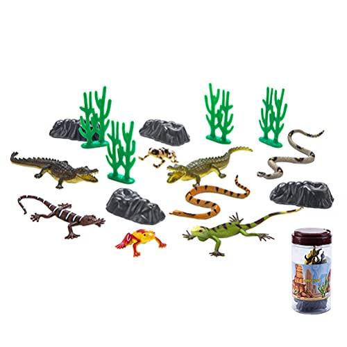 JOKFEICE Figuras de Animales 16 Piezas de Reptiles de plástico Realista Modelo de acción de Animales Proyecto de Ciencia Juguetes educativos de Aprendizaje Regalo de cumpleaños